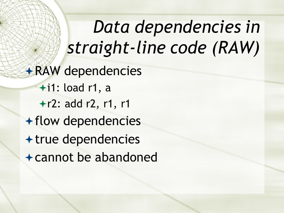 Data dependencies in straight-line code (RAW)