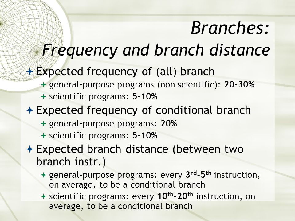Branches: Frequency and branch distance