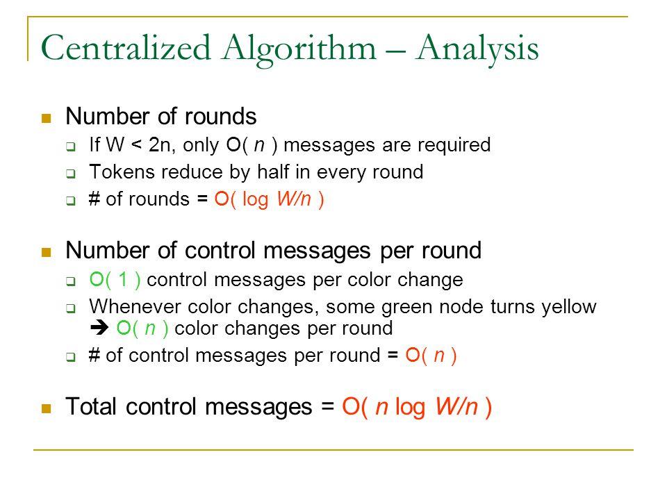 Centralized Algorithm – Analysis