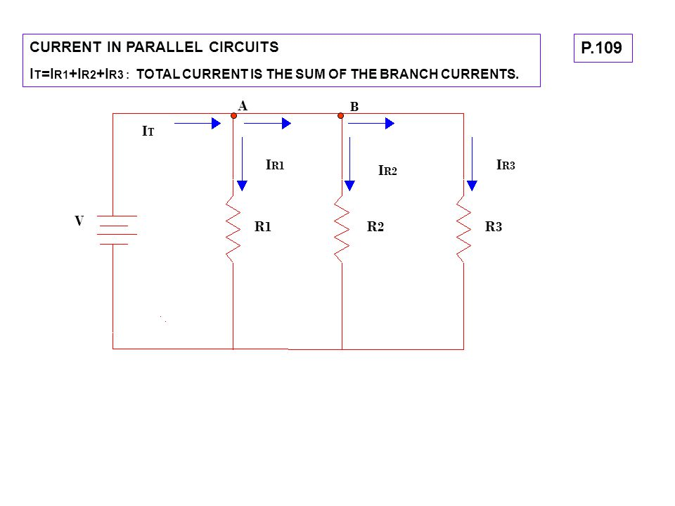 P.109 CURRENT IN PARALLEL CIRCUITS
