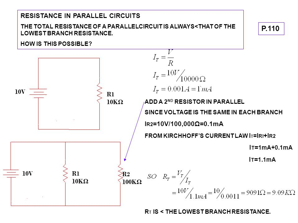 P.110 RESISTANCE IN PARALLEL CIRCUITS 10V R1 10KΩ