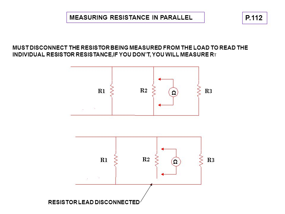 P.112 MEASURING RESISTANCE IN PARALLEL R1 R2 R3 R1 R2 R3