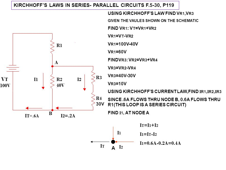KIRCHHOFF'S LAWS IN SERIES- PARALLEL CIRCUITS F.5-30, P119