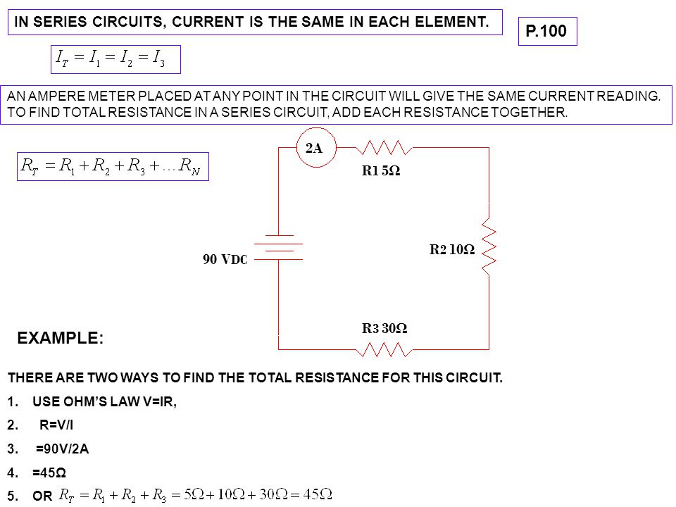 IN SERIES CIRCUITS, CURRENT IS THE SAME IN EACH ELEMENT.