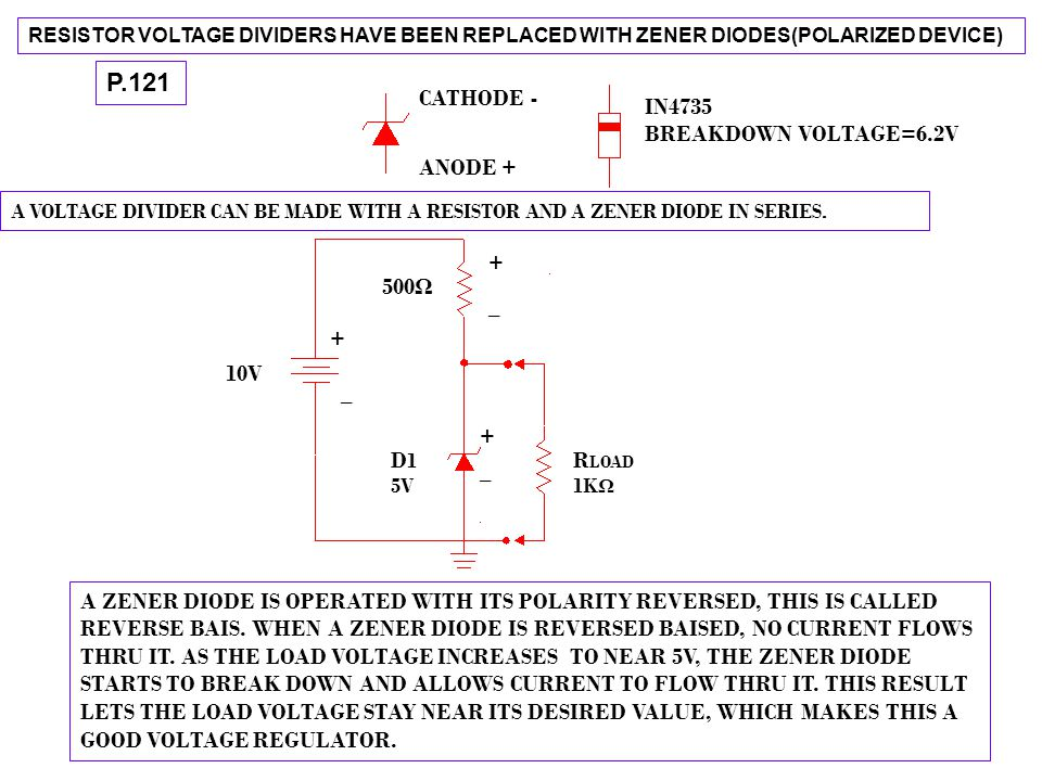 P.121 CATHODE - IN4735 BREAKDOWN VOLTAGE=6.2V ANODE + + 500Ω _ + 10V _
