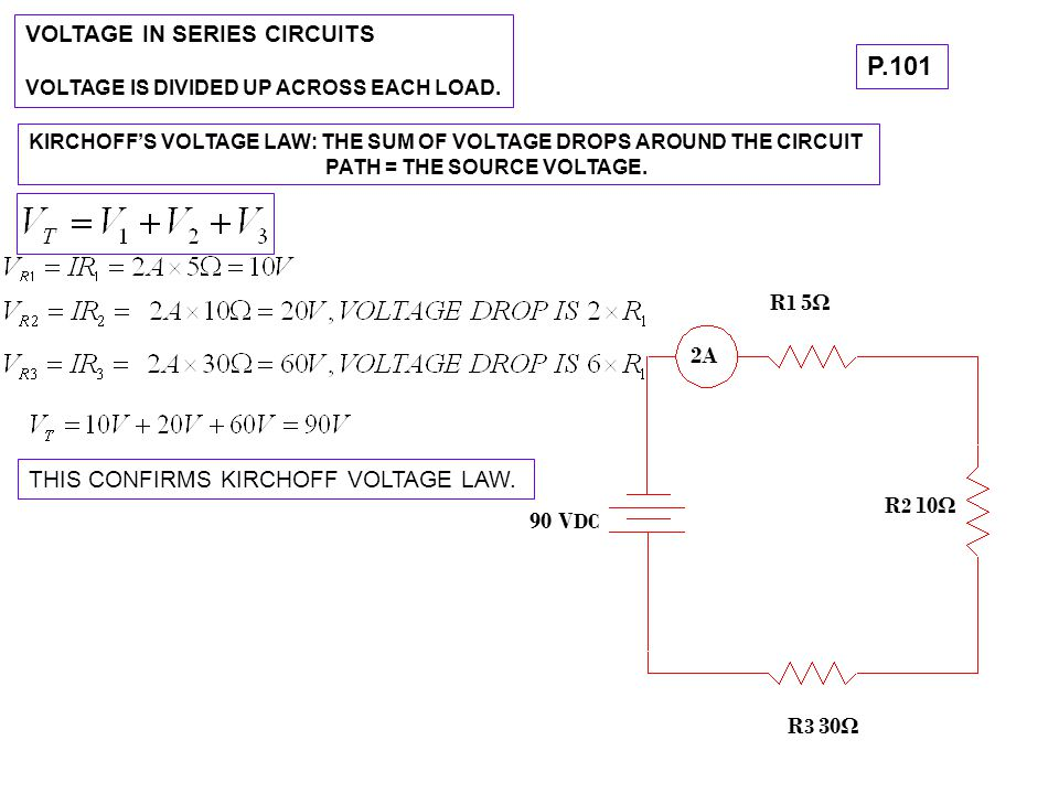 P.101 VOLTAGE IN SERIES CIRCUITS R1 5Ω 2A