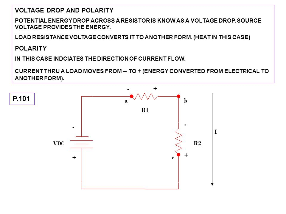 P.101 VOLTAGE DROP AND POLARITY POLARITY - + a b R1 - - I VDC R2 + + c