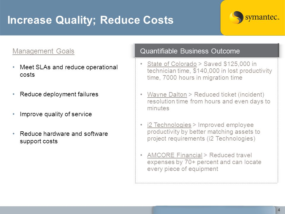 Increase Quality; Reduce Costs