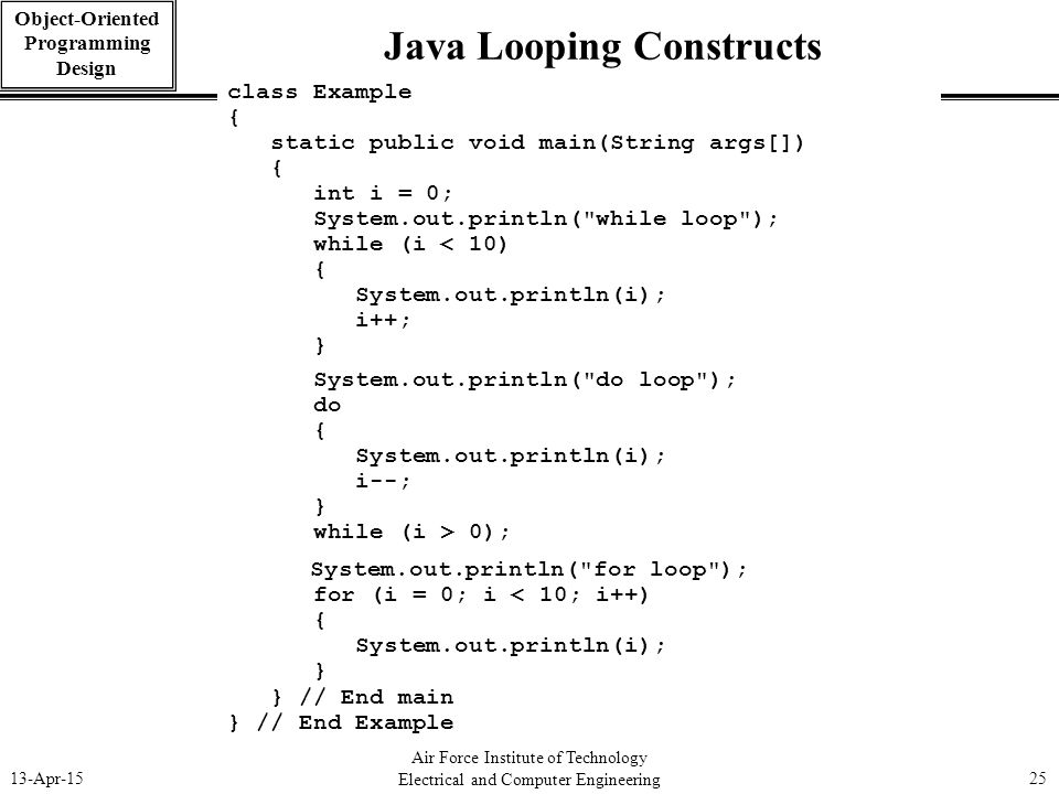 25 Java Looping Constructs