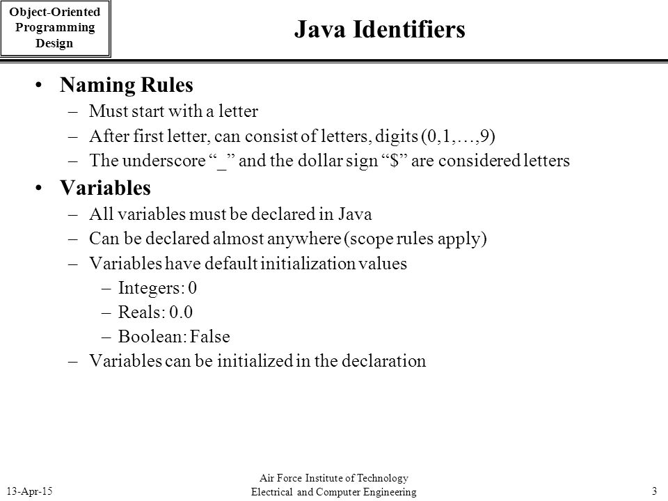 Java Identifiers Naming Rules Variables Must start with a letter