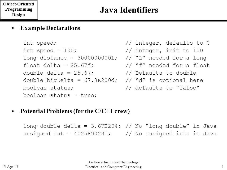 Java Identifiers Example Declarations