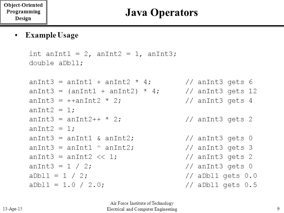 Java Operators Example Usage int anInt1 = 2, anInt2 = 1, anInt3;