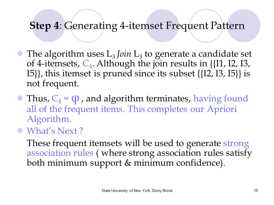 Step 4: Generating 4-itemset Frequent Pattern