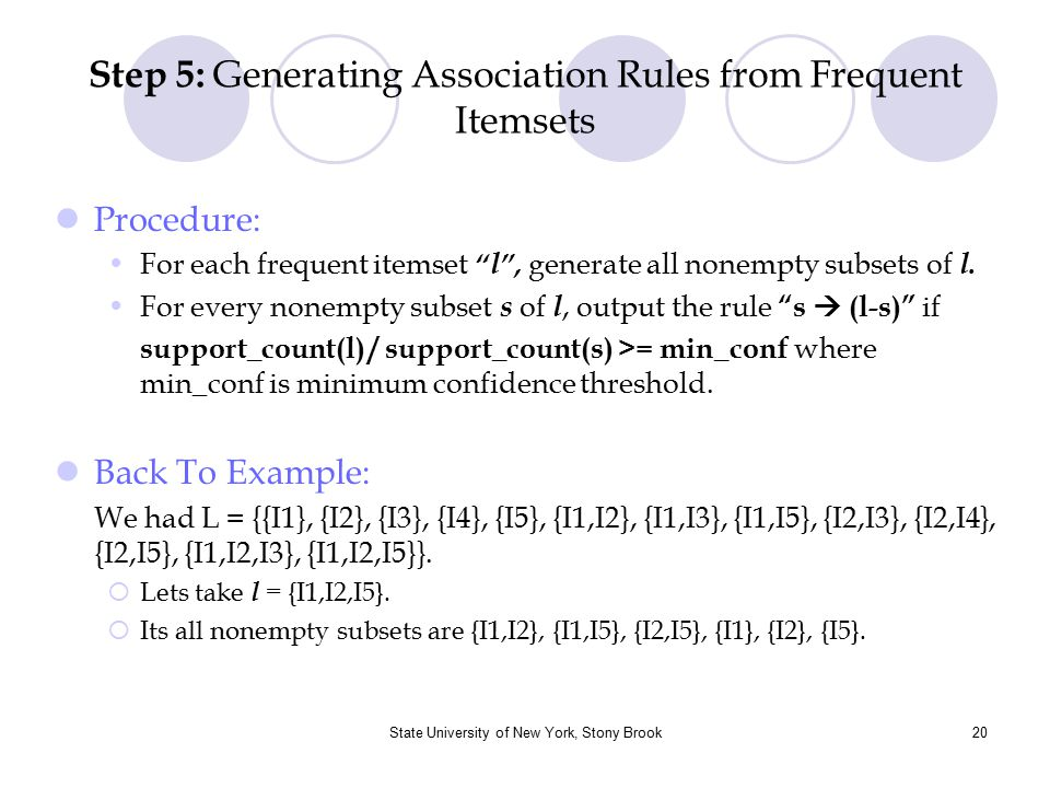 Step 5: Generating Association Rules from Frequent Itemsets