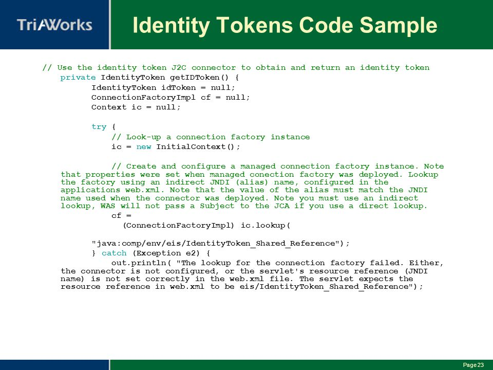 Identity Tokens Code Sample