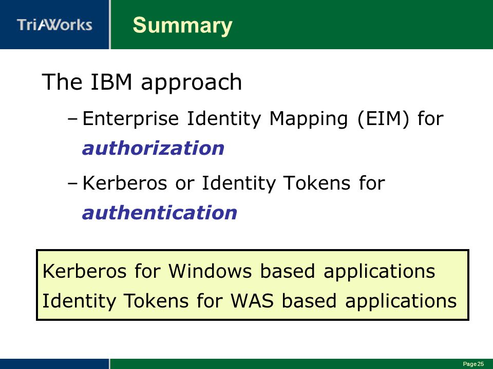 Summary The IBM approach