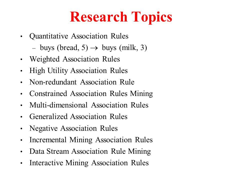 Research Topics Quantitative Association Rules