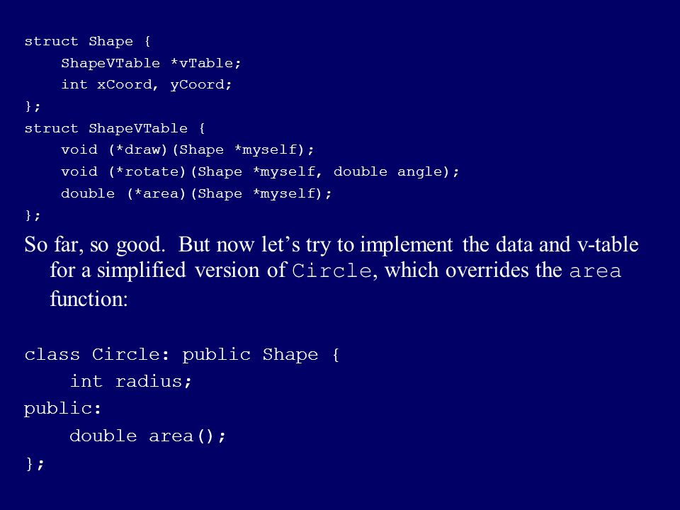 struct Shape { ShapeVTable *vTable; int xCoord, yCoord; }; struct ShapeVTable { void (*draw)(Shape *myself);