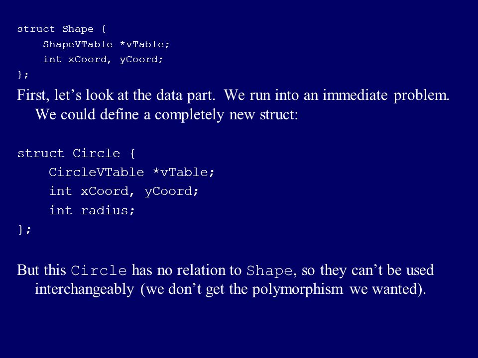 struct Shape { ShapeVTable *vTable; int xCoord, yCoord; };