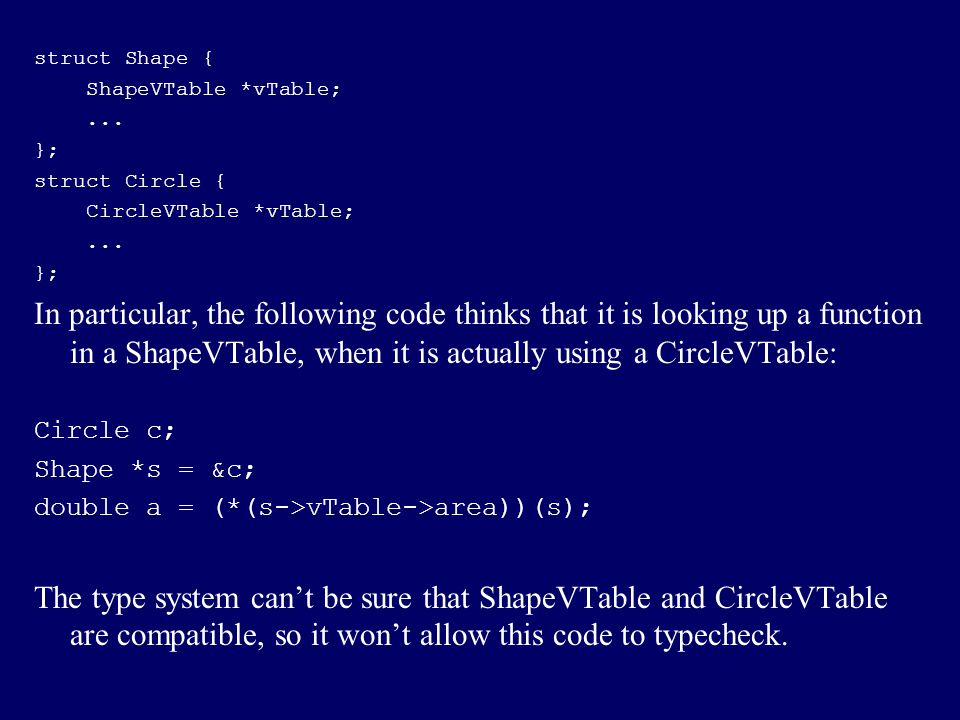 struct Shape { ShapeVTable *vTable; ... }; struct Circle { CircleVTable *vTable;