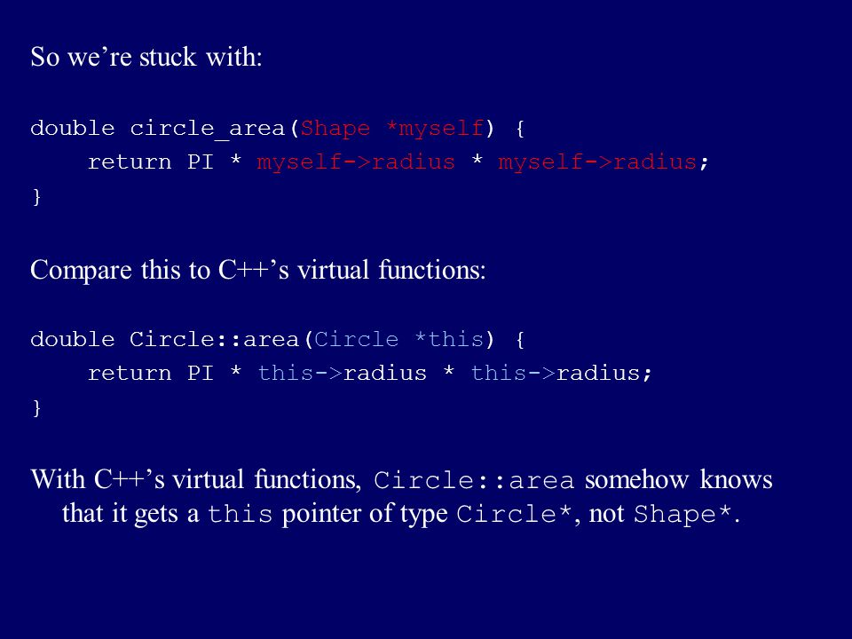 Compare this to C++'s virtual functions: