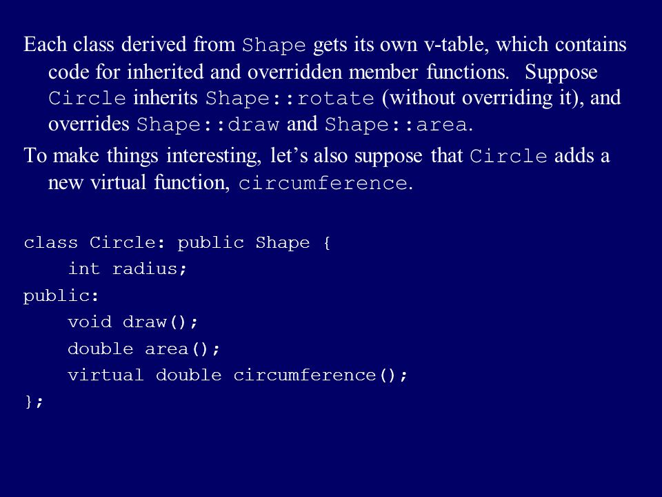 Each class derived from Shape gets its own v-table, which contains code for inherited and overridden member functions. Suppose Circle inherits Shape::rotate (without overriding it), and overrides Shape::draw and Shape::area.