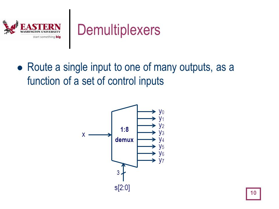 Demultiplexers Route a single input to one of many outputs, as a function of a set of control inputs.