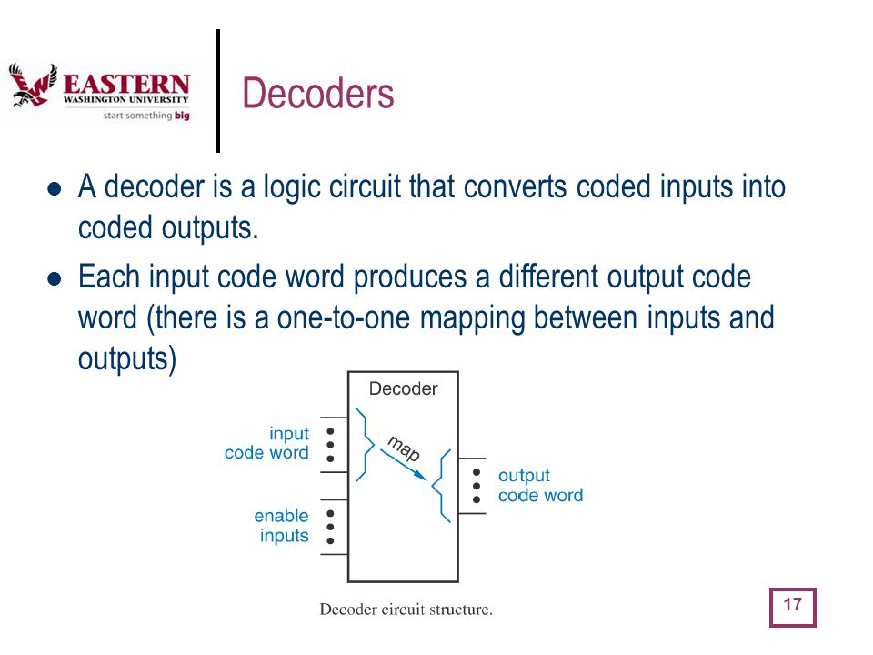 Decoders A decoder is a logic circuit that converts coded inputs into coded outputs.