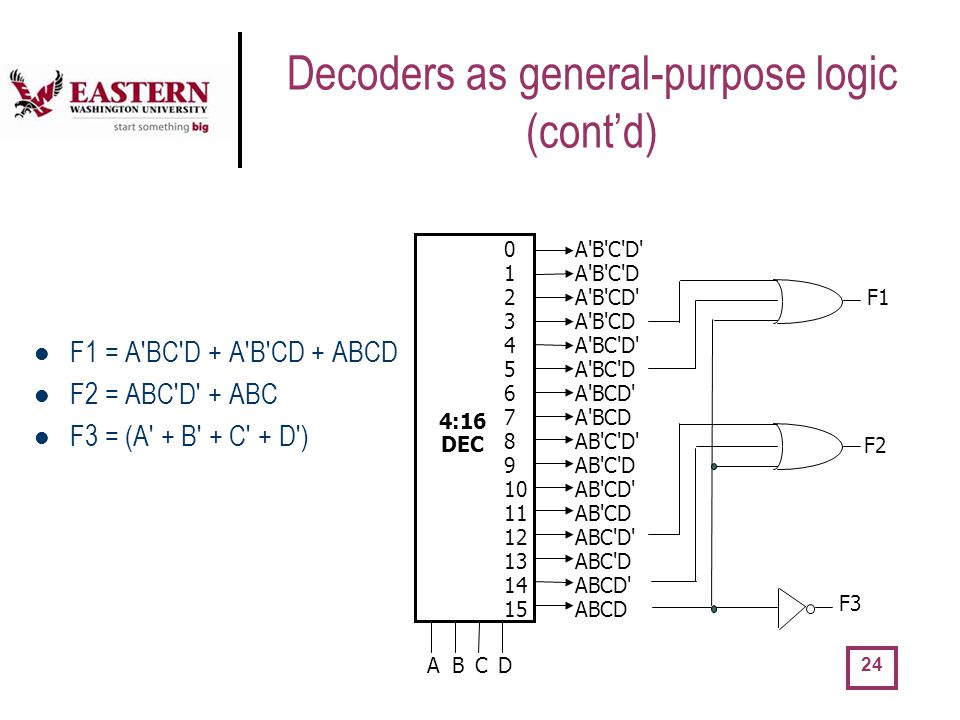 Decoders as general-purpose logic (cont'd)