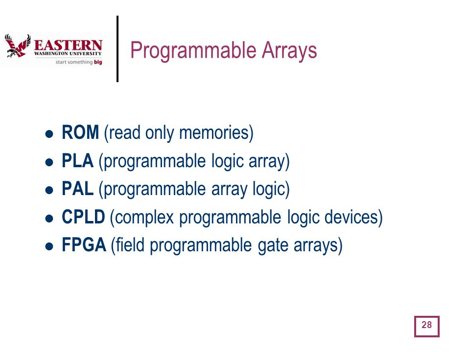 Programmable Arrays ROM (read only memories)