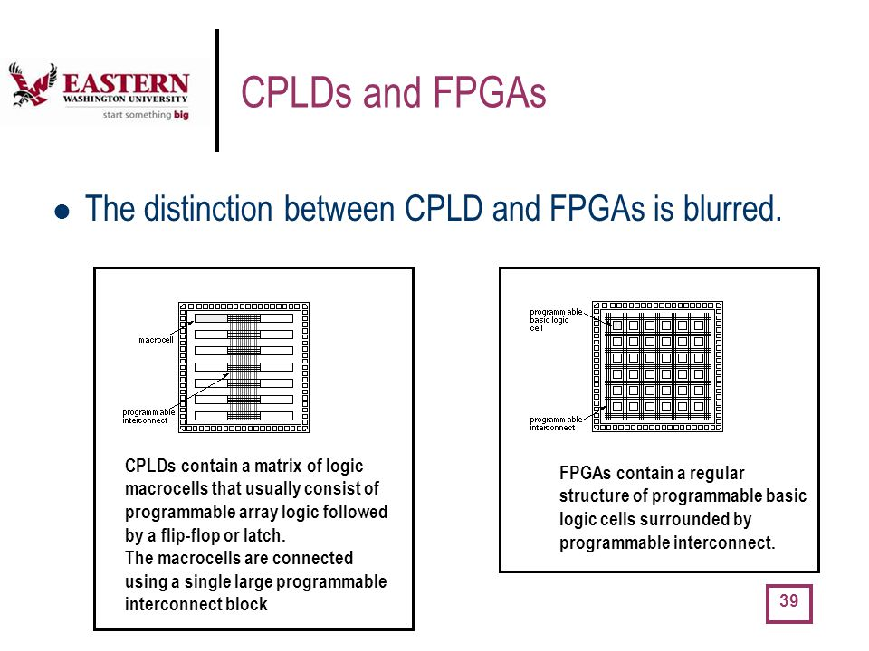CPLDs and FPGAs The distinction between CPLD and FPGAs is blurred.