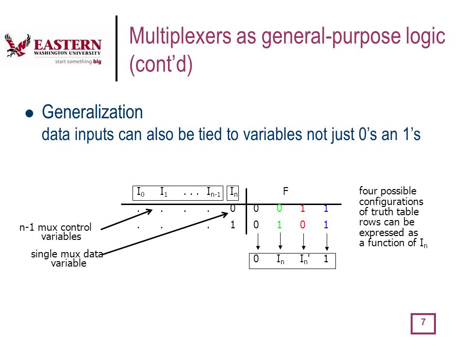 Multiplexers as general-purpose logic (cont'd)