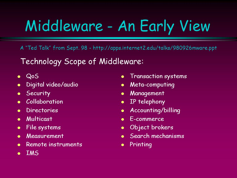 Middleware - An Early View