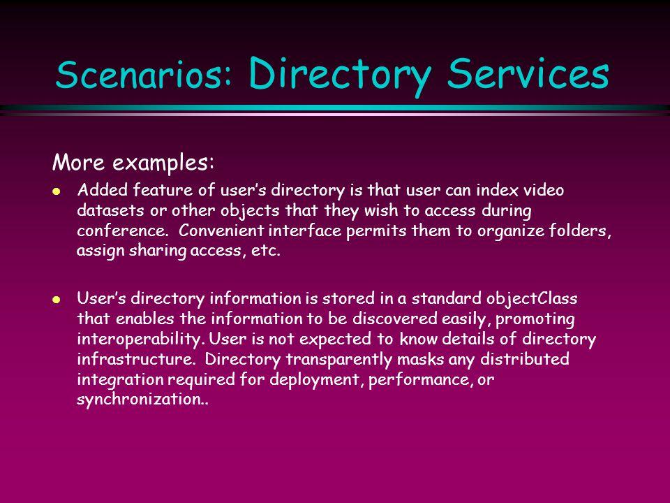 Scenarios: Directory Services