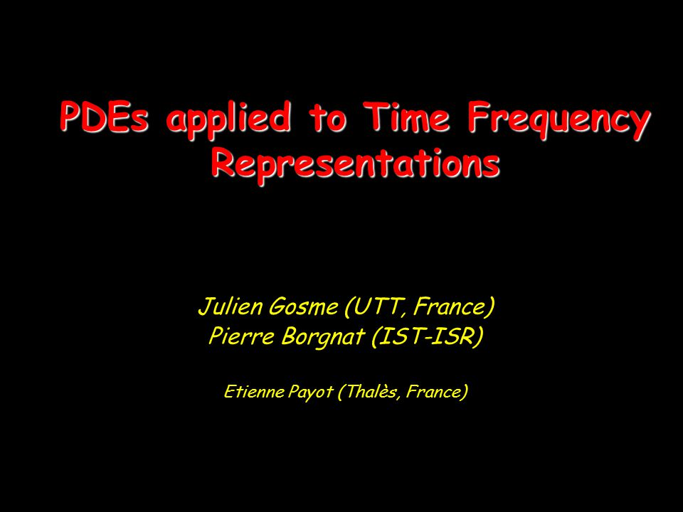 PDEs applied to Time Frequency Representations