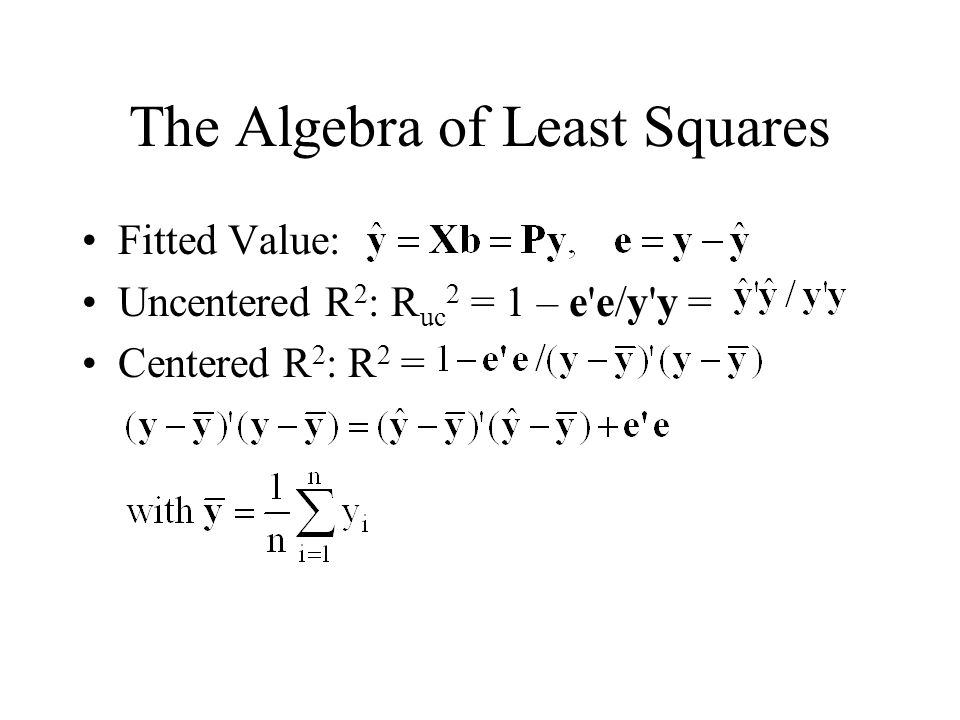 The Algebra of Least Squares