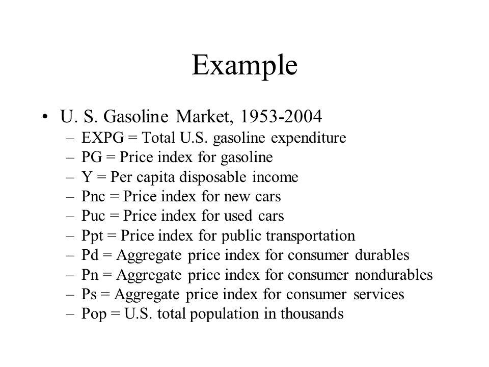 Example U. S. Gasoline Market, 1953-2004