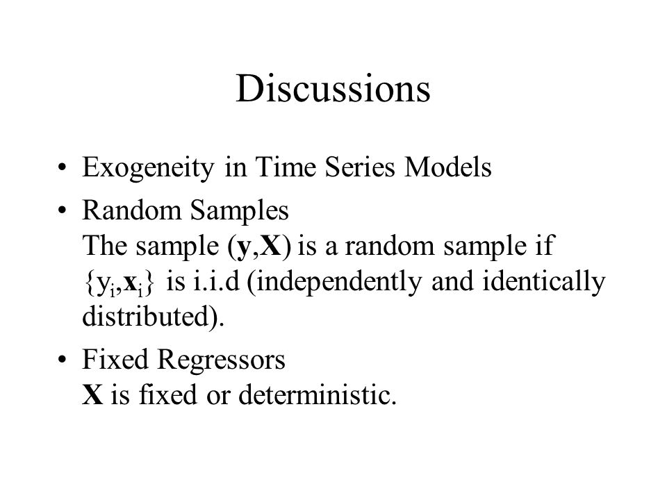 Discussions Exogeneity in Time Series Models
