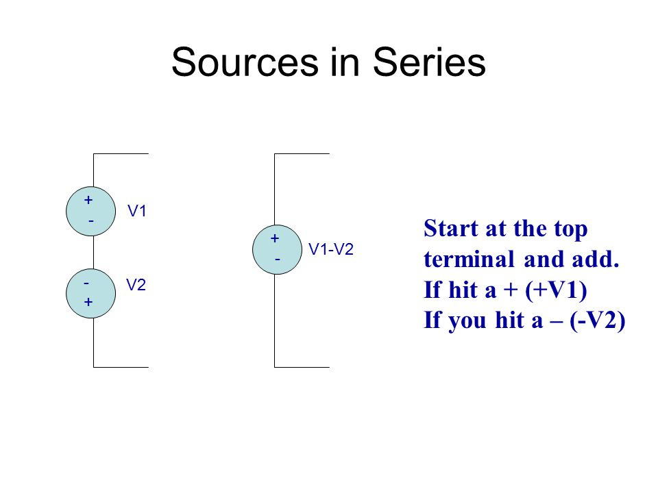 Sources in Series Start at the top terminal and add. If hit a + (+V1)