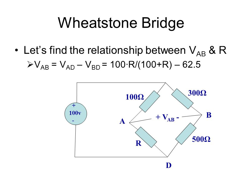 Wheatstone Bridge Let's find the relationship between VAB & R