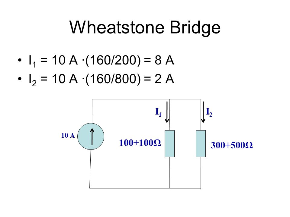 Wheatstone Bridge I1 = 10 A ∙(160/200) = 8 A