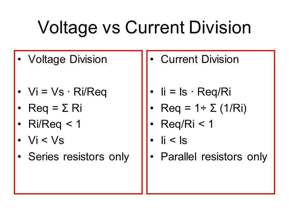 Voltage vs Current Division