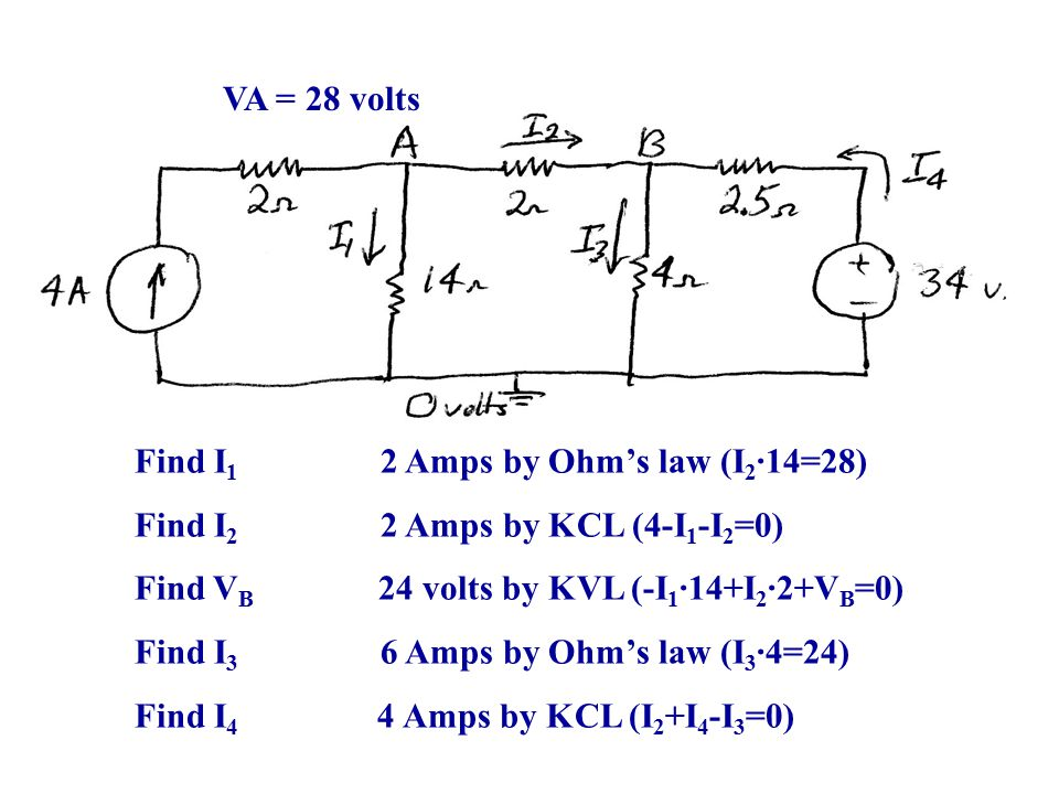 VA = 28 volts Find I1 2 Amps by Ohm's law (I2∙14=28) Find I2 2 Amps by KCL (4-I1-I2=0)