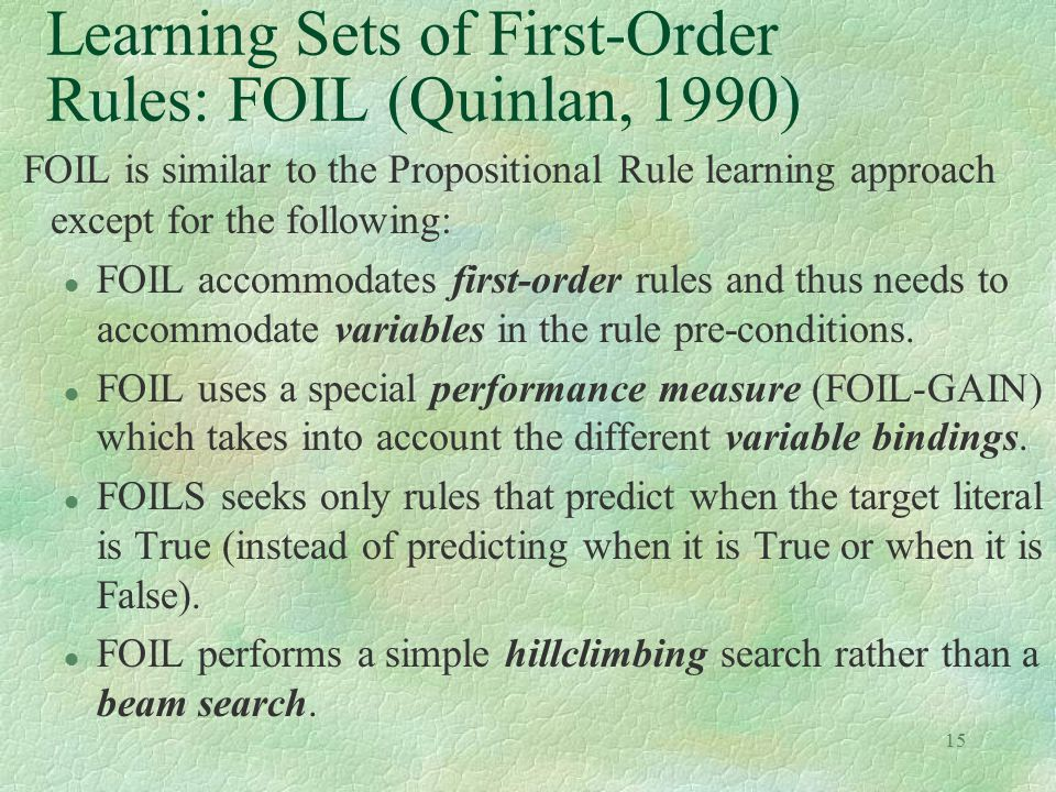 Learning Sets of First-Order Rules: FOIL (Quinlan, 1990)