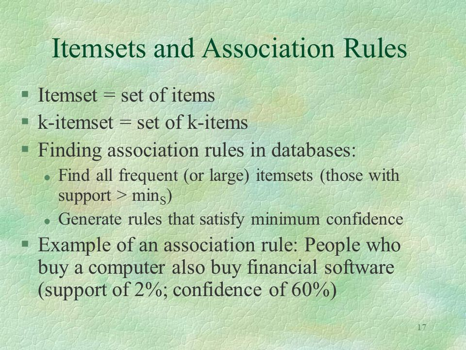 Itemsets and Association Rules