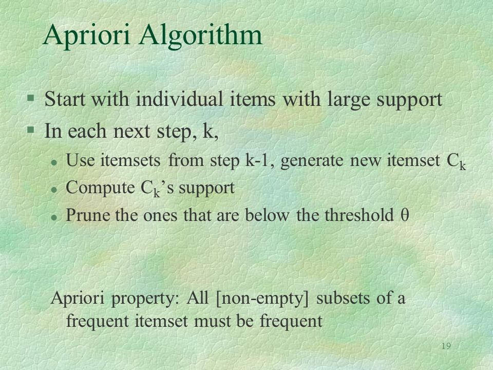 Apriori Algorithm Start with individual items with large support