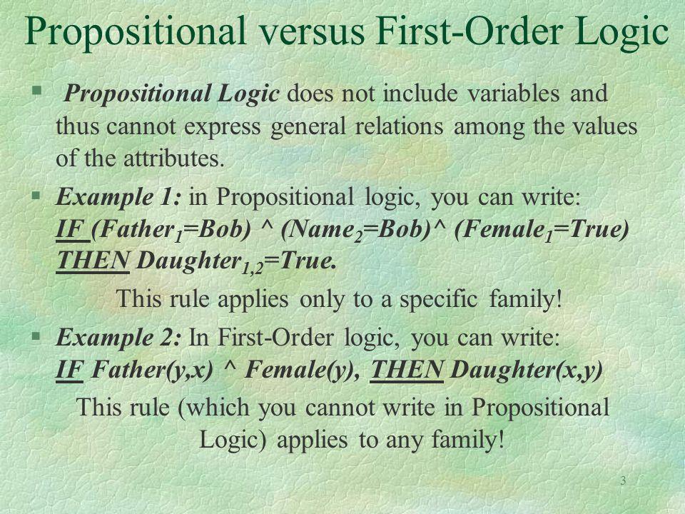 Propositional versus First-Order Logic