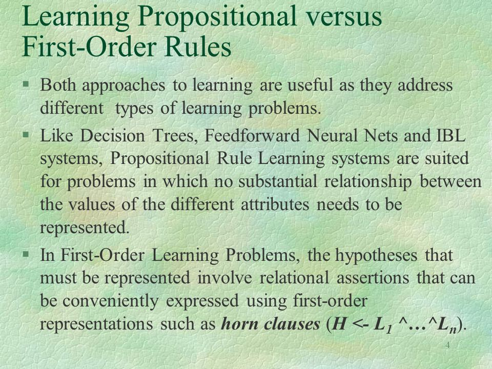 Learning Propositional versus First-Order Rules