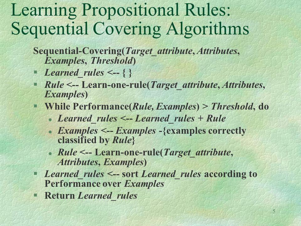 Learning Propositional Rules: Sequential Covering Algorithms
