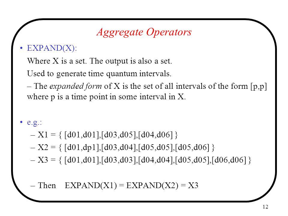 Aggregate Operators EXPAND(X):